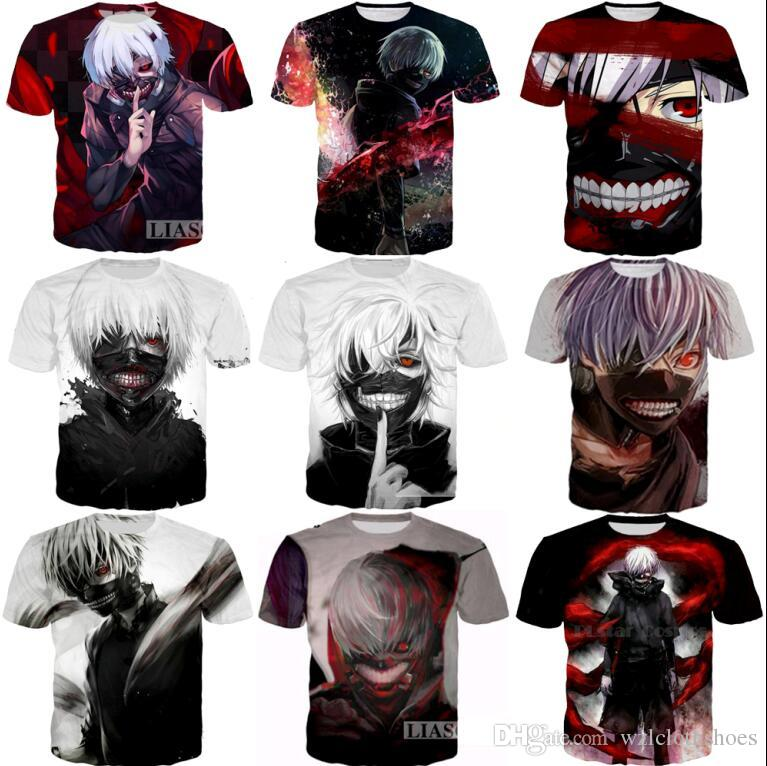 Newest Fashion Womens Mens Classic Anime Tokyo Ghoul Summer Style Funny 3D Print Casual Short Sleeve T-shirt
