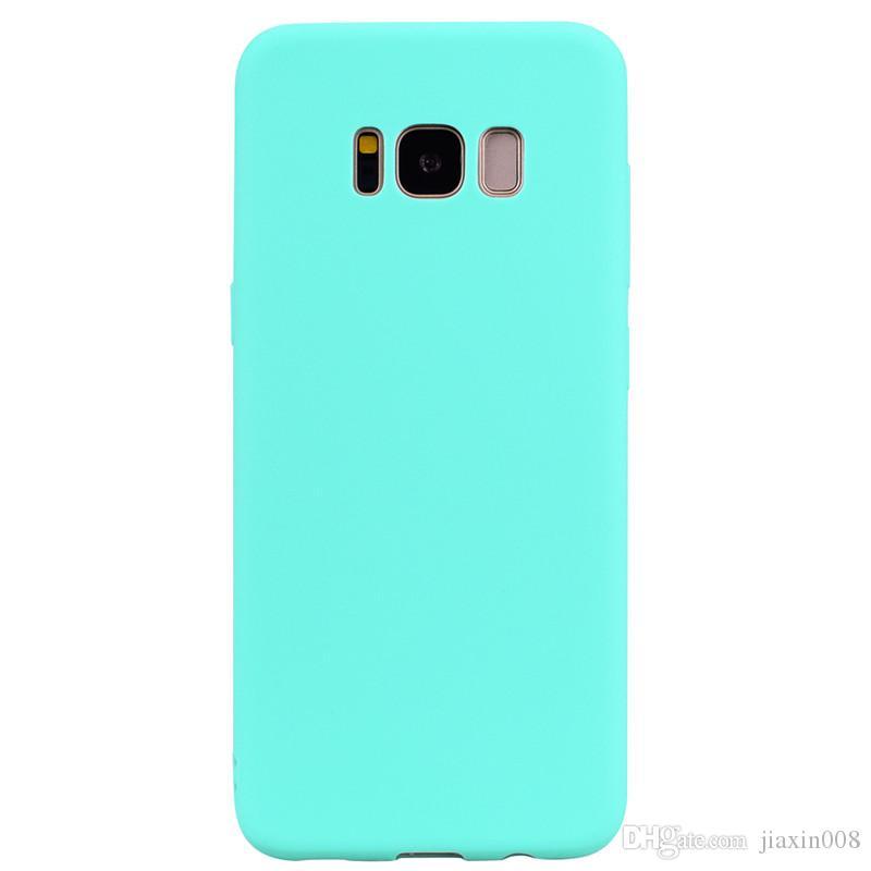Para Samsung Galaxy S8 Funda Cubierta Trasera Suave TPU Serie de color Caramelo Diseñador Ultrafino Mobie Funda para Teléfono Capinha