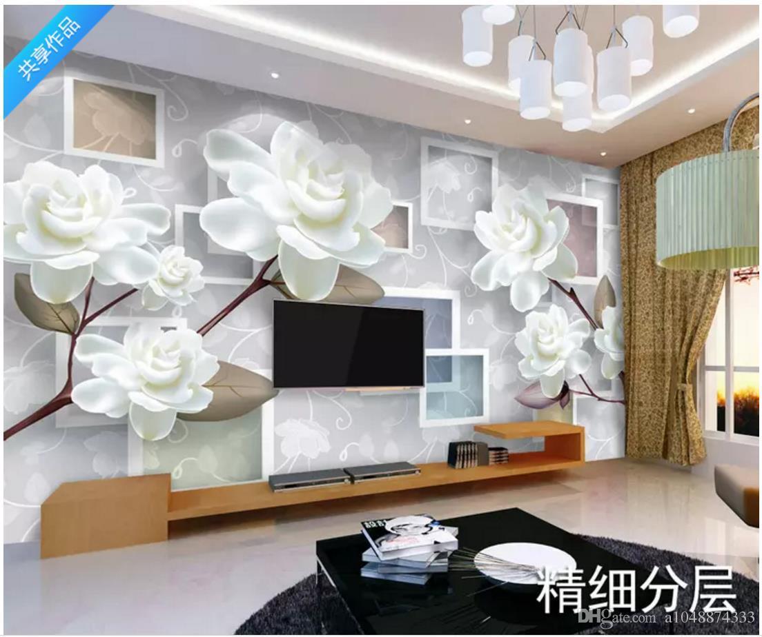 Бесплатная доставка Индивидуальные фотообои обои Современный минималистский мода цветочные 3D стерео ТВ фон обои для стен 3d декор