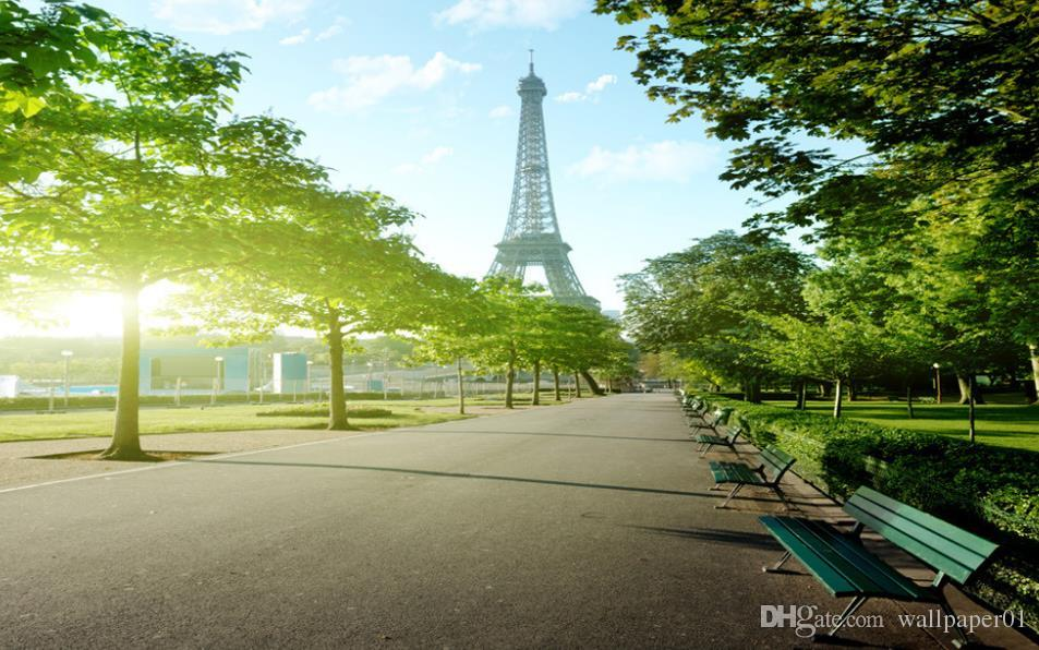 3D Wallpaper Mural Decor Photo Backdrop Original Paris Eiffel Tower street view TV background wall Wallpaper Mural Painting For Living Room