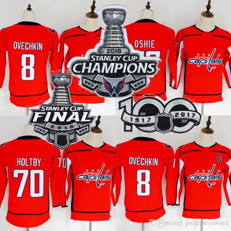 Youth Jersey 2018 Stanley Cup Champion Patch 8 Alex Ovechkin 70 Braden Holtby 77 T.J. أوشي بلانك واشنطن كابيتال هوكي الفانيلة