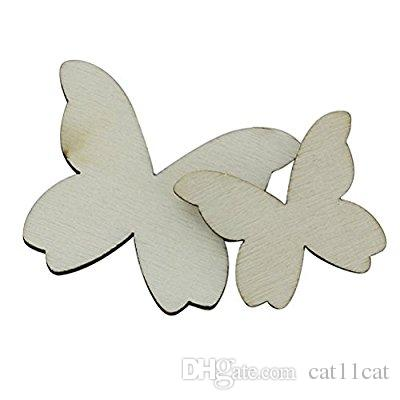 100pcs Mixed Size Wooden Butterfly Cutouts Craft Embellishment Gift Tag Wood Ornament for DIY