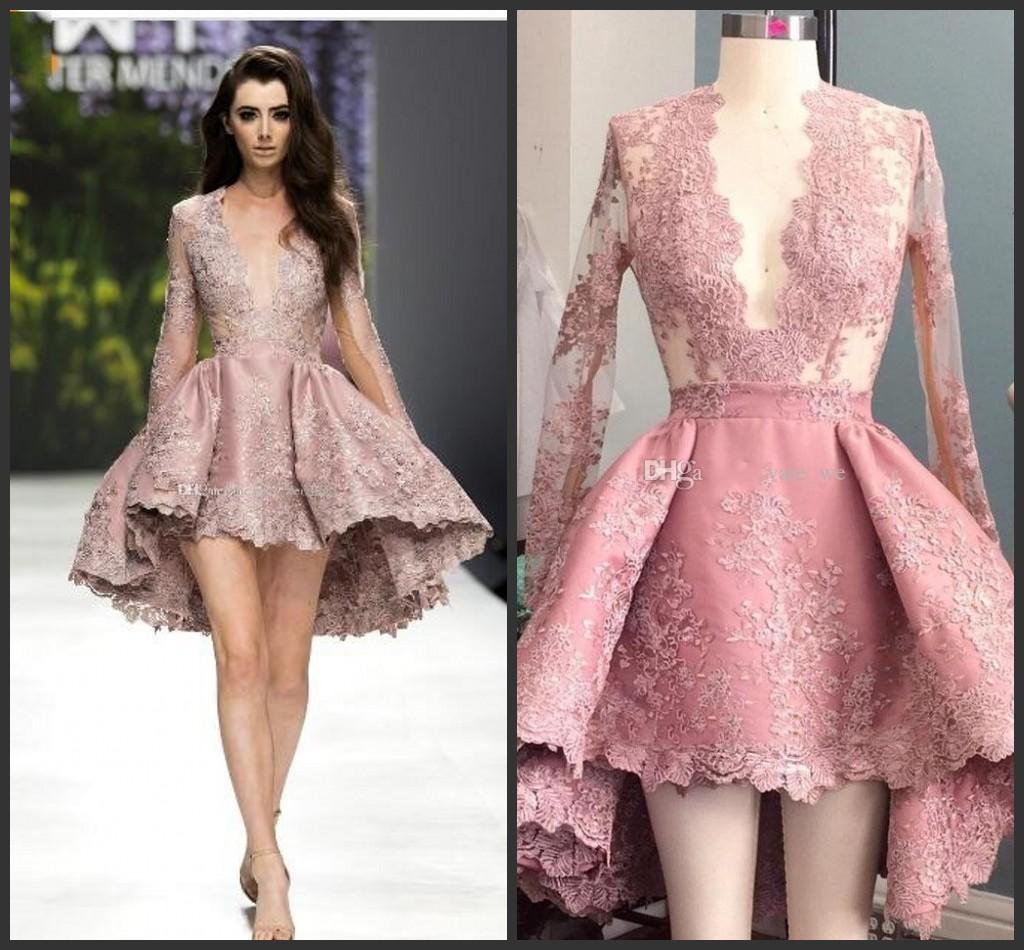 Compre Nuevos Vestidos De Baile De Encaje En Color Rosa Pastel Sumiendo La Ilusión De Mangas Largas Con Apliques Hi Lo Vestidos De Coctel Vestidos De