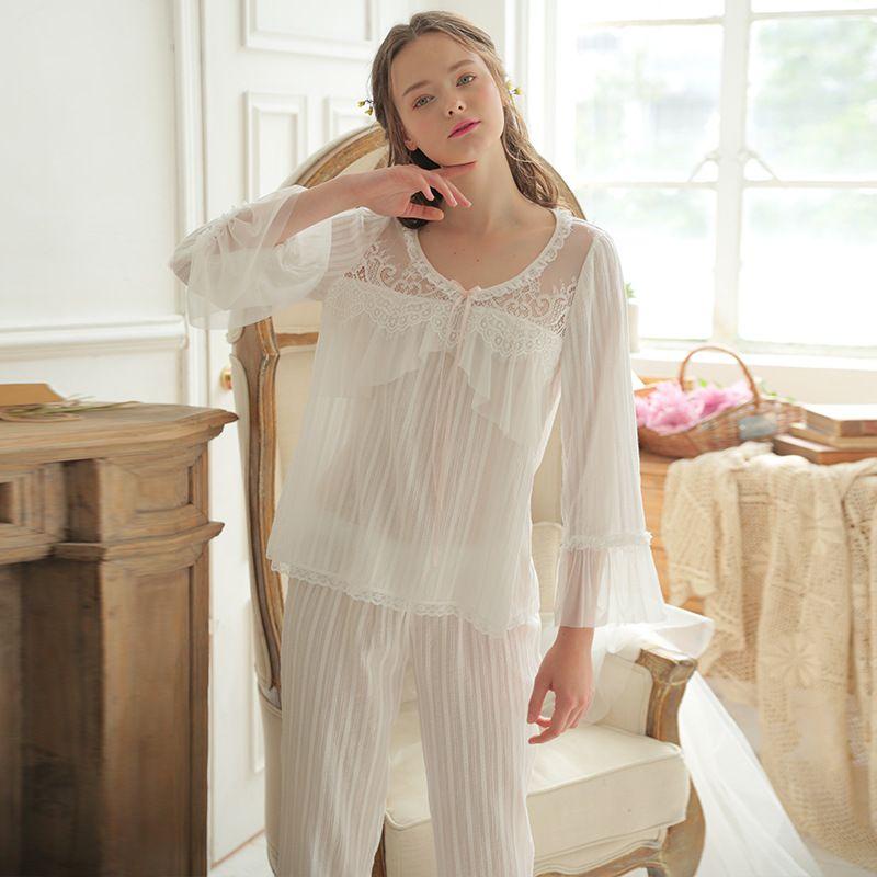 Details about  /Women Cotton Pajama Set Sleepwear Pant Long Sleeve Top /& Pants M L-XL-XXL