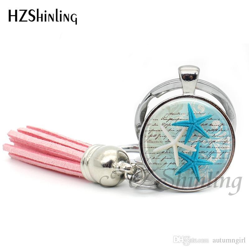 Fashion Sea Turtle Tassel Keychain Sea Life Keyring Glass Cabochon Key Chain Silver Handcraft Jewelry Gifts Women Men