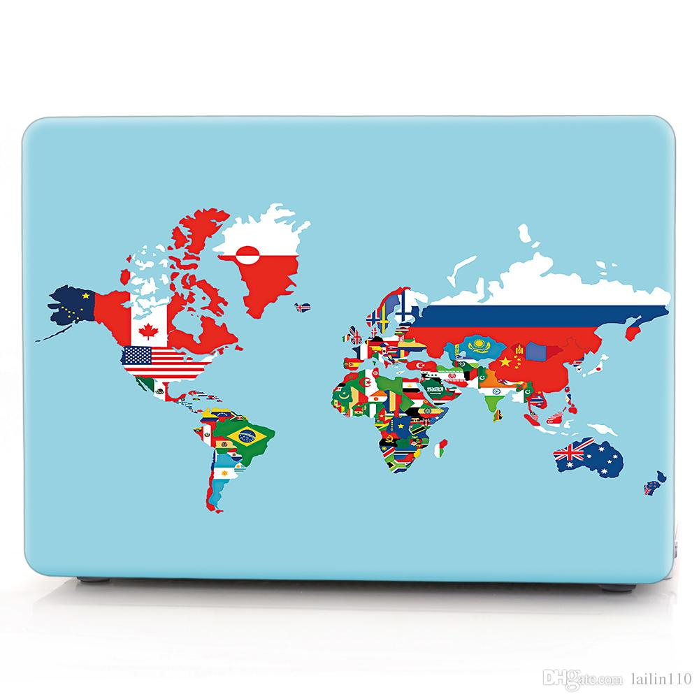 Map-3 Oil painting Case for Apple Macbook Air 11 13 Pro Retina 12 13 15 inch Touch Bar 13 15 Laptop Cover Shell