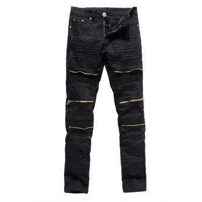 2018 primavera tendência dos homens de Slim jeans lavados pés calças calças com zíper dos homens 28--36