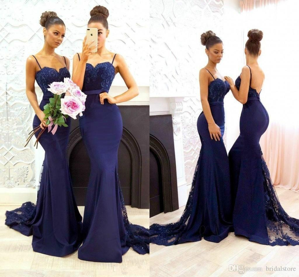 Sexy Navy Blue African Bridesmaid Dresses Mermaid Spaghetti Straps Elastic Satin Lace formal Prom Party Gowns Button Back Long Maid Of Honor