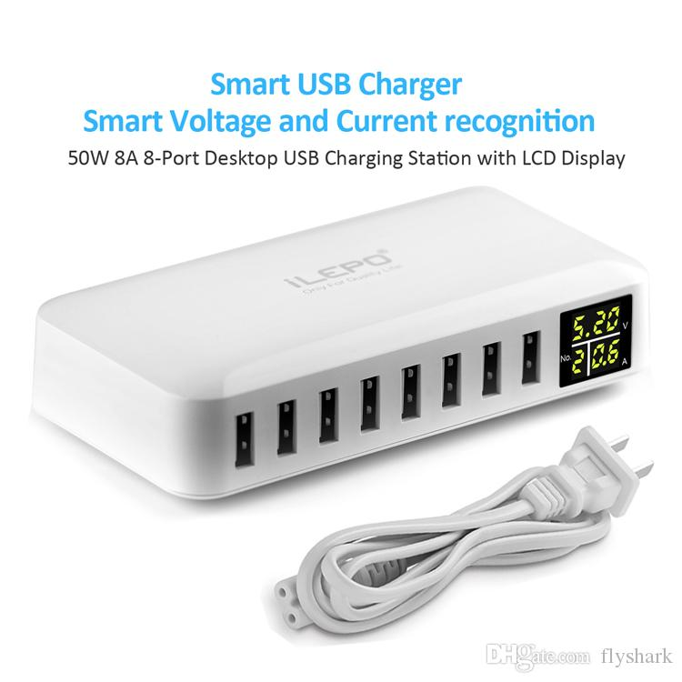 8-Ports USB Charger Charging Station For Multiple Device With LCD Display Desktop Smart Charger For Laptops Tablets Phones