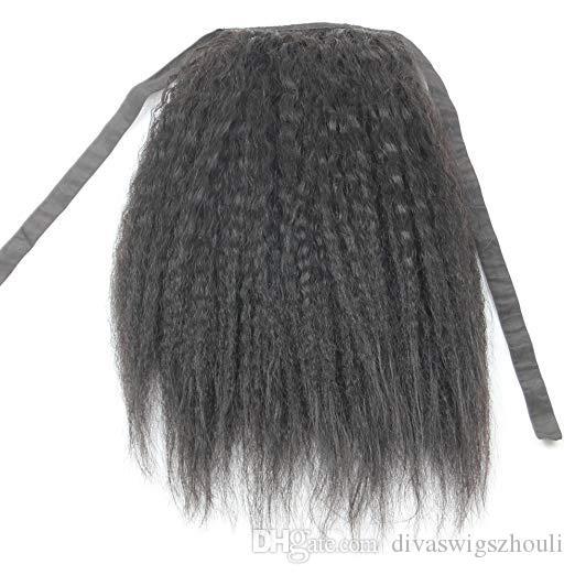 Ponrones de cheval africaine Extension de cheveux humains grossieur Yaki Kinki Kinky Hétéro Poitrine de queue de queue de poney de cordon 100g-160g Couleur naturelle