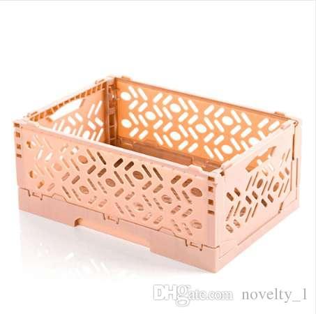 HIPSTEEN Faltbarer Kunststoff Stapelbarer Aufbewahrungskorb Makeup Organizer Houseohld Table Top Kleinigkeiten Organizer Basket
