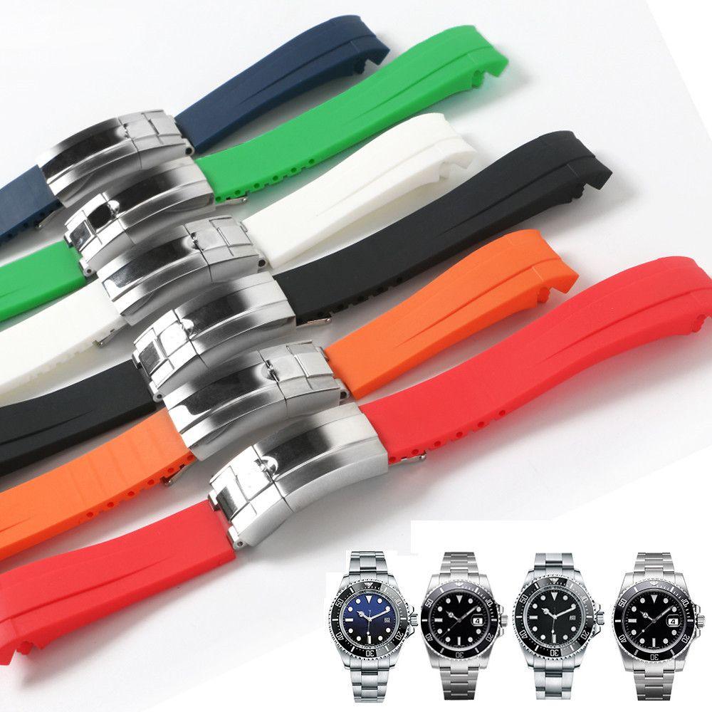 En caoutchouc imperméable à l'eau pour Deep Sea Bracelet en acier inoxydable déploiement Fold boucle du bracelet montre bracelet bracelet 21mm Bleu Noir Rouge Dweller