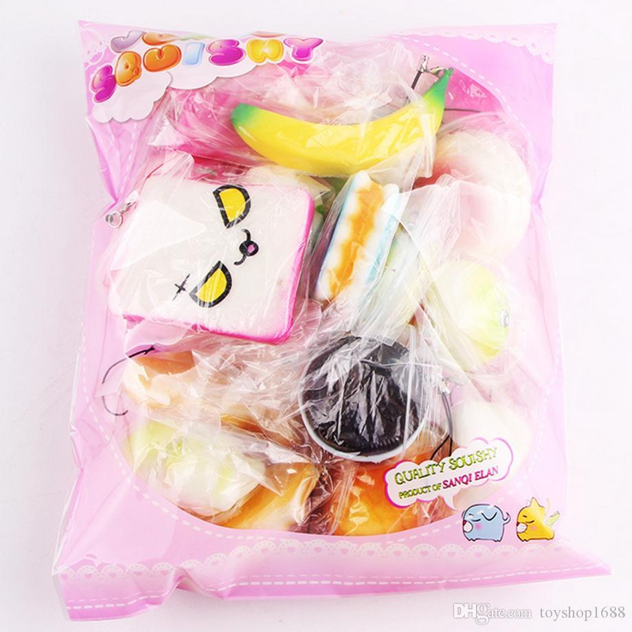 Hurtownie 20 w 1 Squishy Zabawki Slow Rising Squeeze Lovely Squishies Cute Soft Mini Cake Cake Lody Zabawki Telefon Paski Dzieci Zabawki