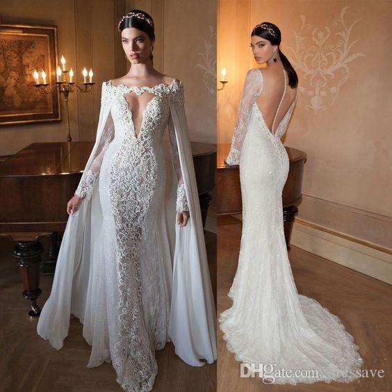 Robes de mariée en dentelle avec cloak sexy manches longues pure boutons illusion arrière arrière dentelle appliques robes de paillettes balayer train bâton bâton