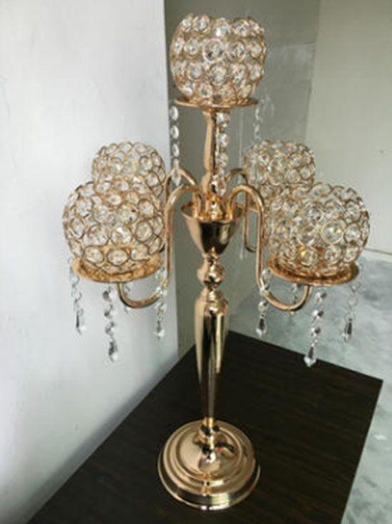 Commercio all'ingrosso 5 testa candelabri d'epoca placcato in oro tavolo di cristallo supporto di candela stand per la decorazione di nozze hotel casa h / 67cm LLFA