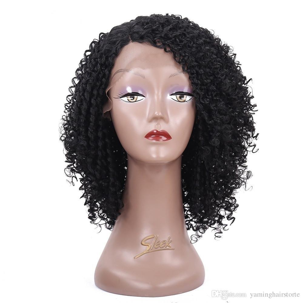 14inch 짧은 합성 레이스 프런트 가발 여성을위한 곱슬 머리 곱슬 가발 Naturelle Black African American Wigs Cosplay