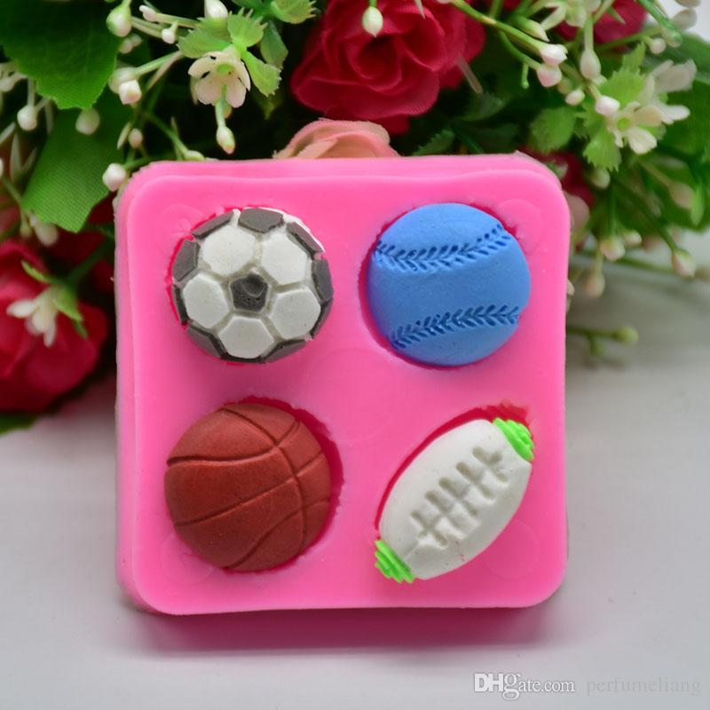 Football Basketball Tennis Silicone Mold Fondant Sugar Process Mold DIY Ball Cake Decoration Free Shipping ZA6677