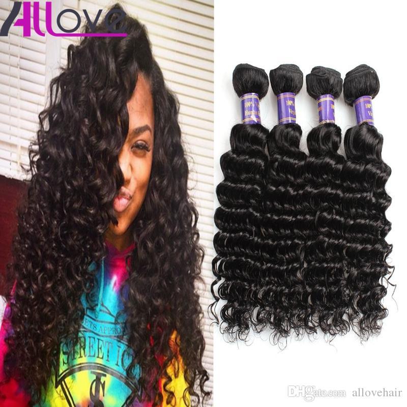 Оптовые дешевые бразильские утки волос 4bundles необработанные перуанские индийские Малайзийские глубокие волны девственные наращивание волос Бесплатная доставка