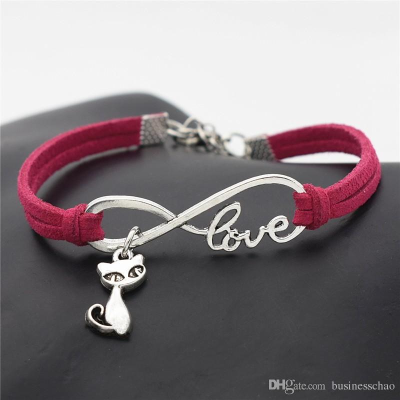 Fashion Infinity Love Cat Fox Charm Bracelets for Women Men Braided Rose Red Leather Suede Rope Bangles Handmade Jewelry Gifts Drop Shipping
