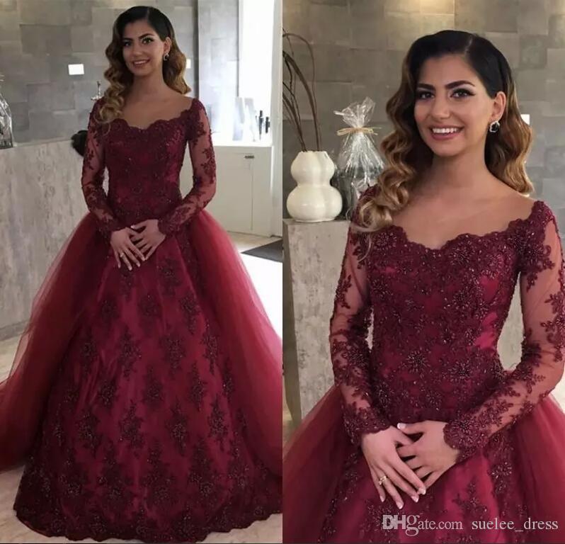 Borgogna maniche lunghe overskirt Prom Dresses Scoop Neck Lace Appliqued Beads Occasioni formali Abbigliamento sera abito da festa