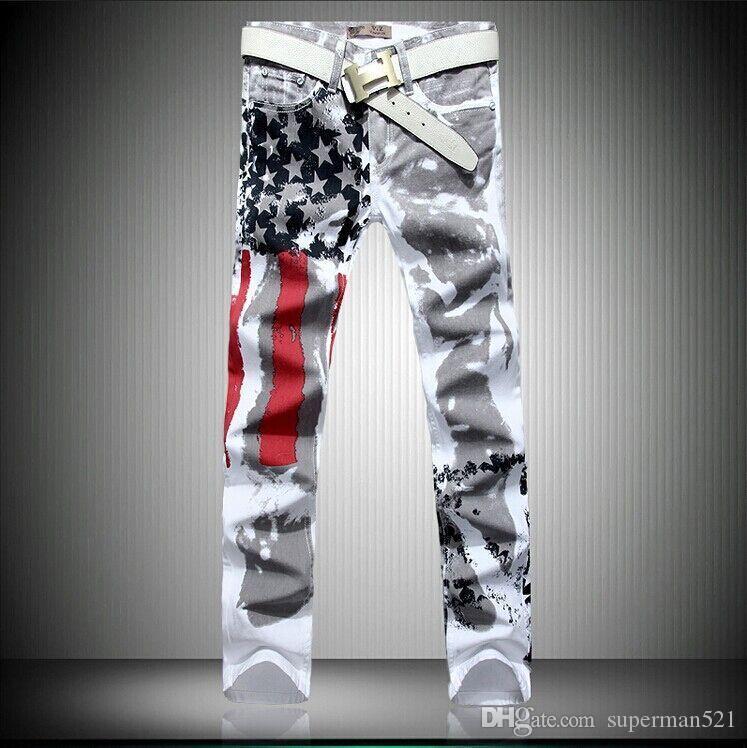 Мода горячие мужские дизайнерские джинсы мужчины Робин джинсы известный бренд с крыльями американский флаг джинсы плюс размер