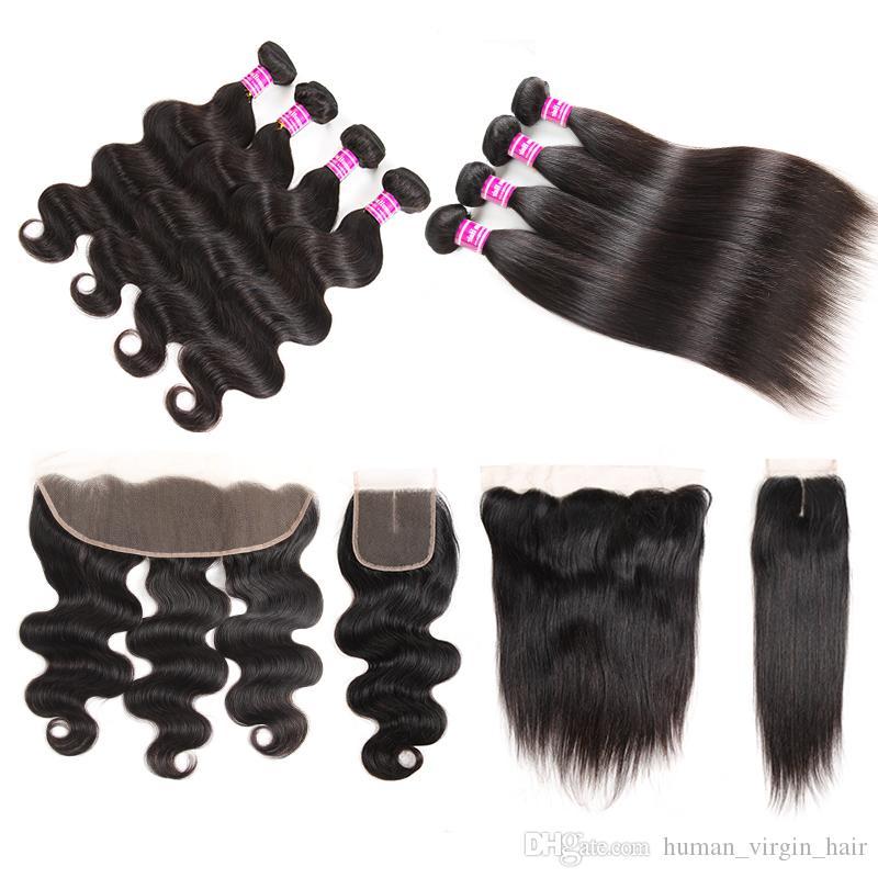 ucuz Brezilyalı bakire saç atkı düz örgü demetleri ön aksesuarları ile remy saç demetleri kapatma vücut dalga saç uzatma