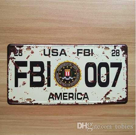 """SP-CP-0151 ريترو خمر معدن القصدير علامات لوحات رخصة السيارة رقم """"FBI-007 usa"""" جدار الفن كرافت اللوحة 15x30 سنتيمتر"""