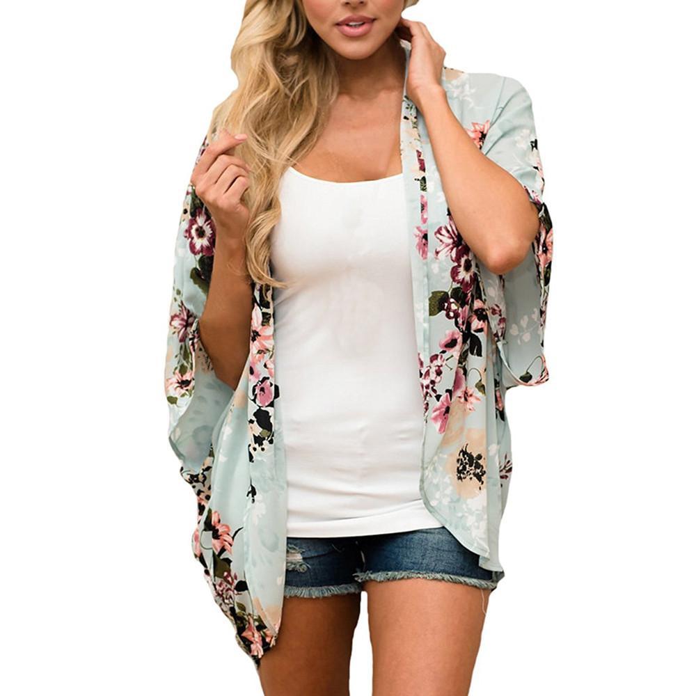 Manera de las mujeres de las señoras de cinco puntos gasa de las mangas kimono Cardigan ocasionales flojas de la blusa de la chaqueta de la blusa de Casacos Femininos