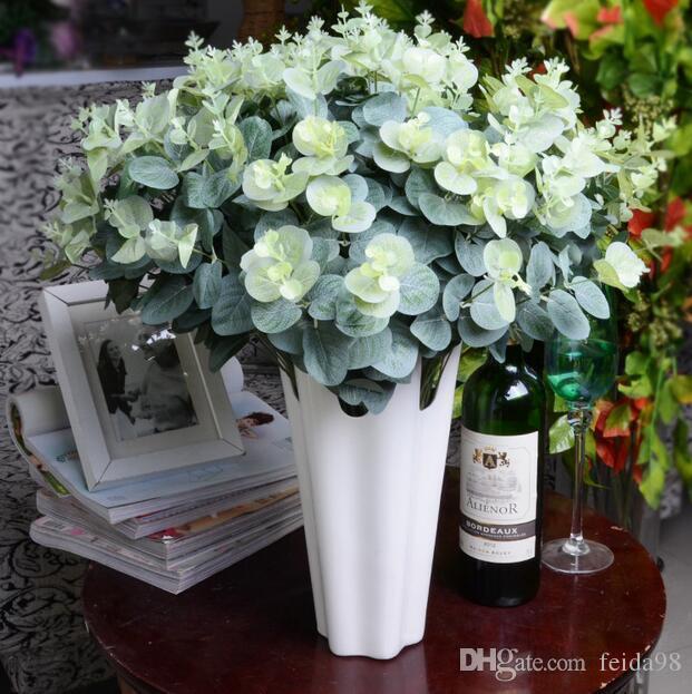 16 teste eucalipto bouquet rami di albero di seta foglie artificiali decorazione della casa fai da te fiore arrangment pianta faux fogliame ghirlanda GA598