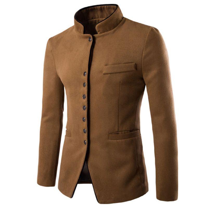 Erkek ceketler ve paltolar düz renk Palto Uzun Yün Coat Yaka Kalınlaşmış Tankı Erkekler Uzun Coat Blazer Erkekler