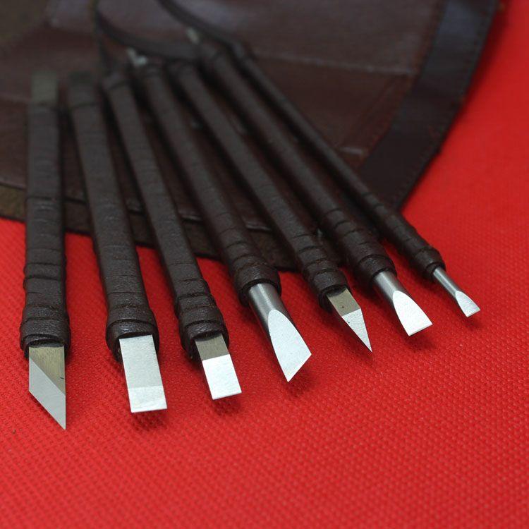 7 Adet Taş Oyma Keski seti, el yapımı beyaz çelik taş oyma bıçakları aracı