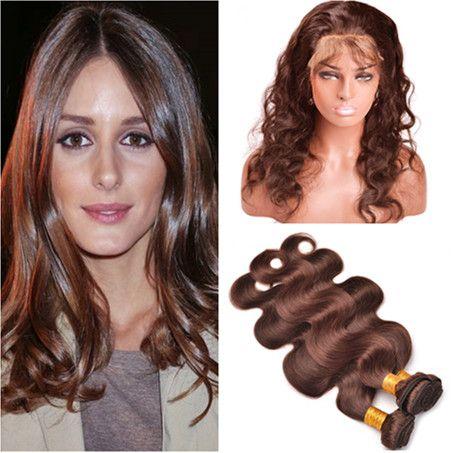 # 4 중간 갈색 페루자 버진 인간의 머리카락 묶음 360 폐쇄와 바디 웨이브 22.5x4x2 초콜릿 브라운 360 전체 레이스 정면 번들