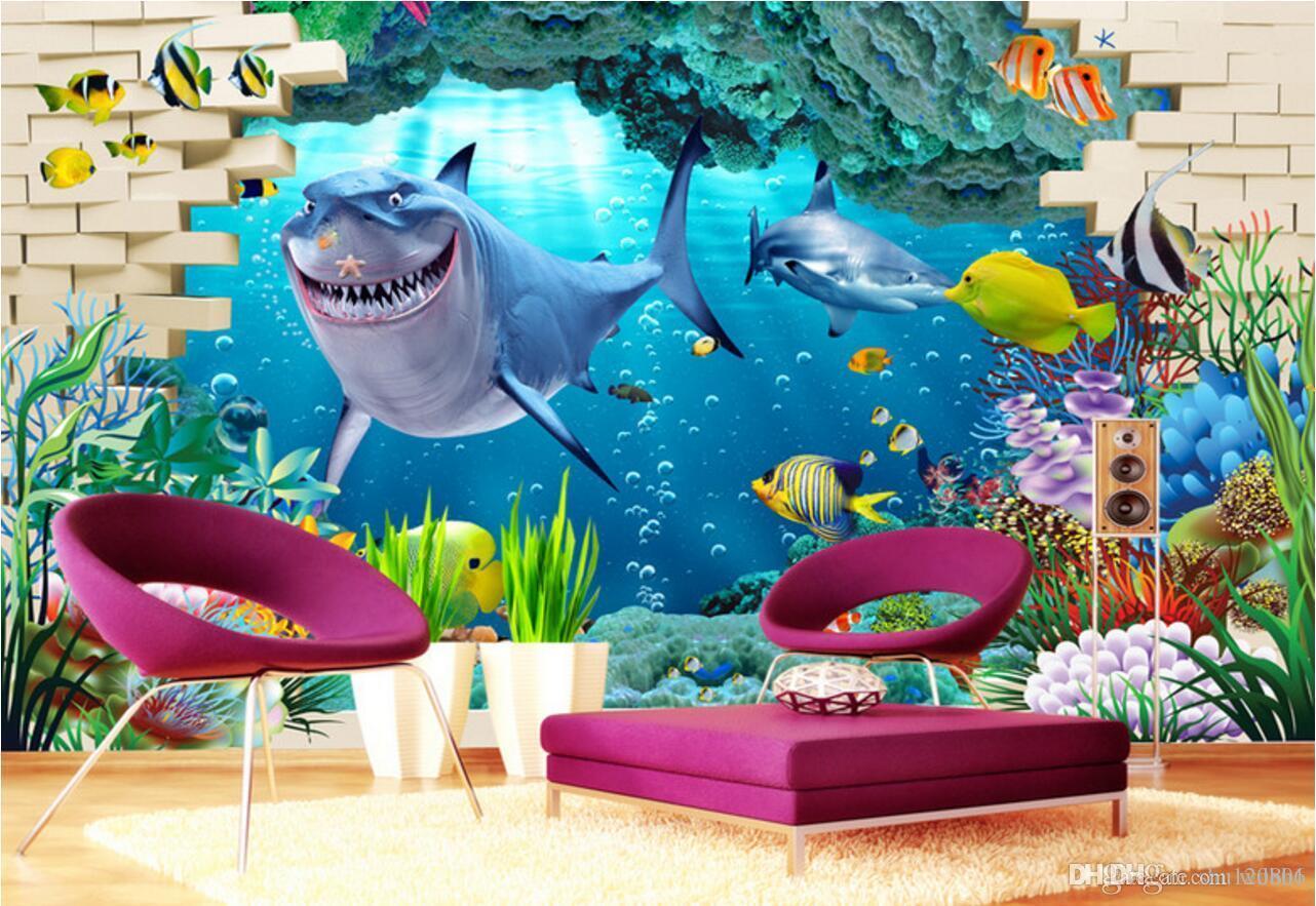 3d wallpaper custom photo Shark underwater world background wall living room Home decor 3d wall murals wallpaper for walls 3 d living room