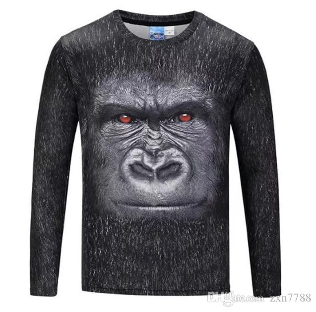 Europa y los Estados Unidos que venden camiseta de manga larga con cuello redondo y personalidad nueva para hombre.