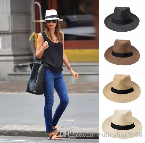 nuevo sombrero de paja, sombrero de las señoras, sombrero de paja del verano, los hombres y mujeres de vaqueros grandes las gorras de Panamá Sombreros de paja de ala ancha para deportes al aire libre Sombreros