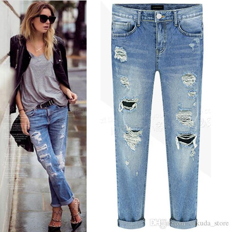 Compre Nuevo Caliente Agujero Jeans Rasgados Pantalones De Mujer Frescos Demin Sueltos Jeans Vintage Para Nina Cintura Media Pantalones Casuales Mujer A 22 32 Del Yakuda Store Dhgate Com