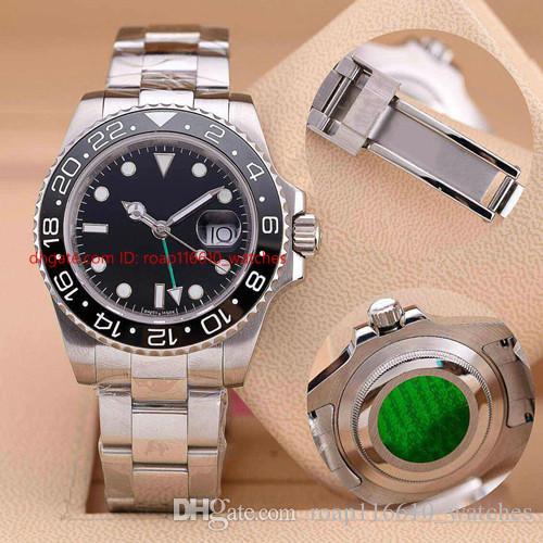 Top qualité luxe Montre bracelet en acier inoxydable CERAMIQUE 40mm Lunette 116710 Mouvement Automatique Montres Montre homme