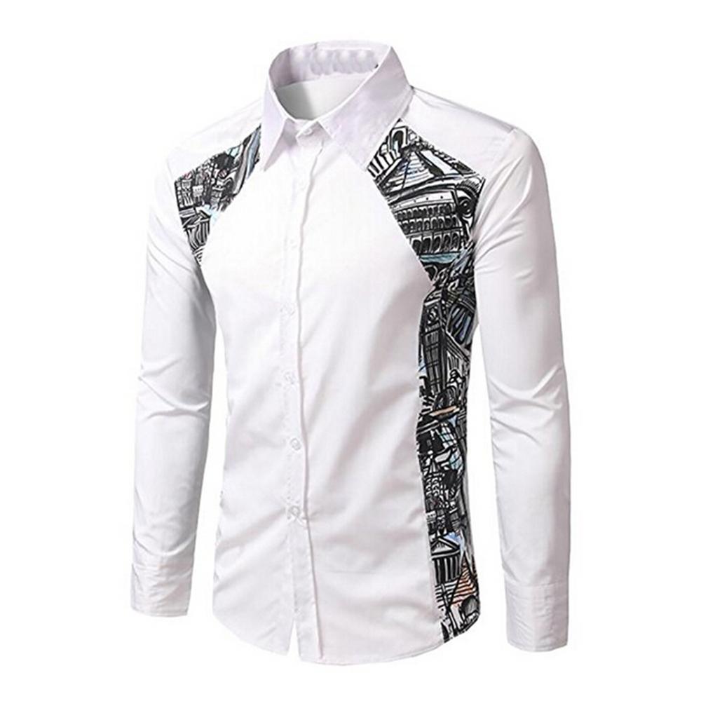Mens Button Down Dress Shirt Color Block Long Sleeve Blouse
