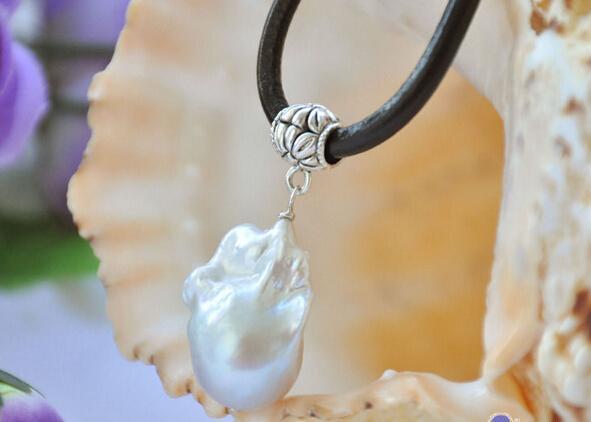 """ücretsiz kargo Jewelr 006026 Huge 17"""" BEYAZ barok keshi yeniden doğmuş inci kolye deri kolye"""