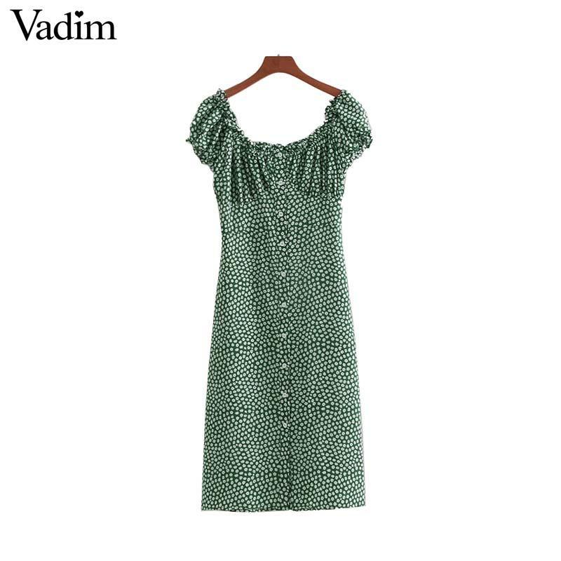 Оптовая старинные оборками цветочный принт миди платье с квадратным рукавом с коротким рукавом кнопки спинки женские платья vestidos mujer QA264