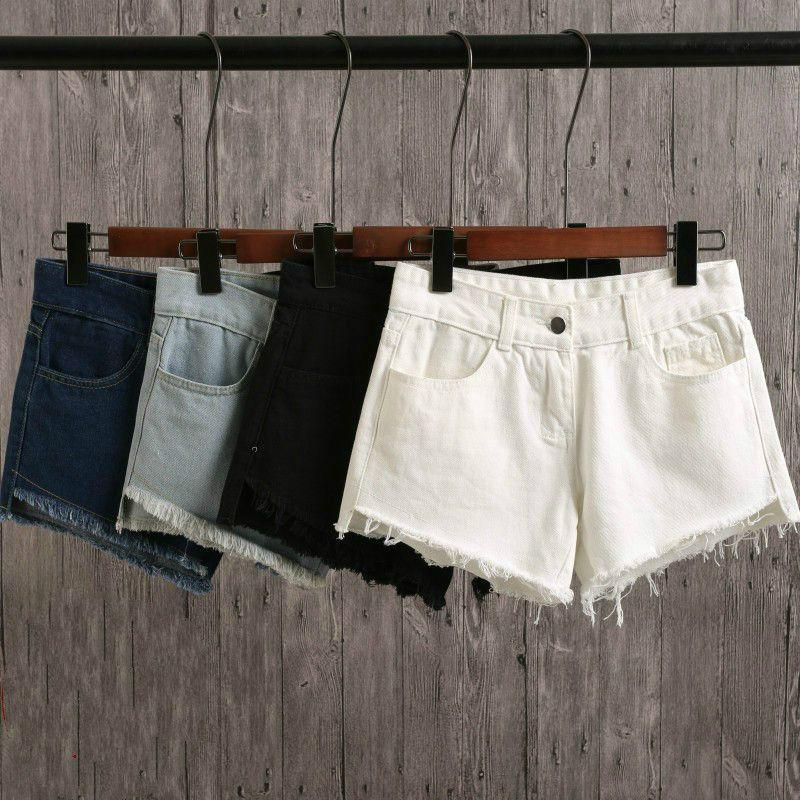 2018 Strappato nuove donne di moda Hot Blue bianco nero solido donna Pantaloncini di jeans di colore ragazze casual tasche cerniera femminile brevi jeans