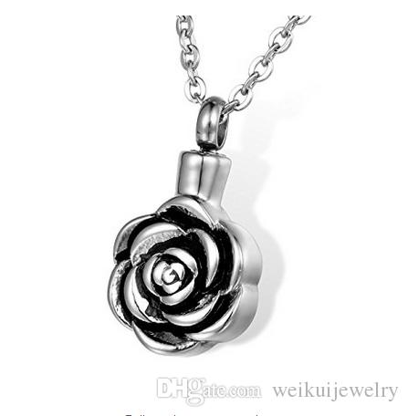 Custom-made stainless steel simple round rose urn necklace can open perfume bottle funeral cremation ashes jewelry pendant.