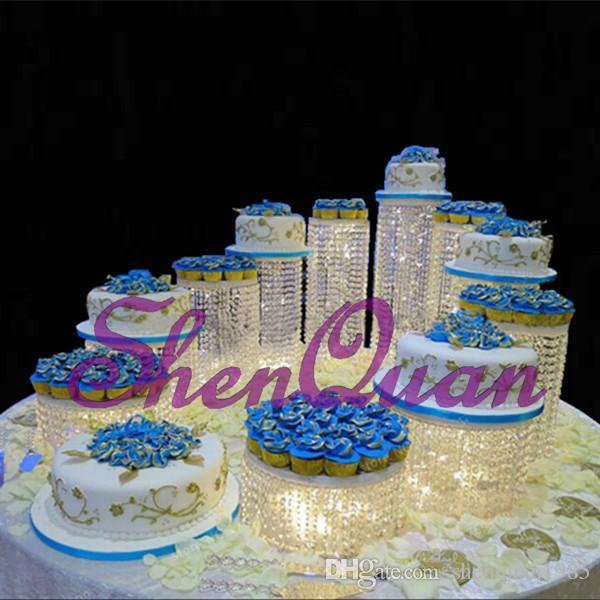 جولة Diamante مرآة لوحة الكعكة ، حامل حفل زفاف الجدول المركزية ، Arylic كريستال كب كيك حفل زفاف حامل الكيك