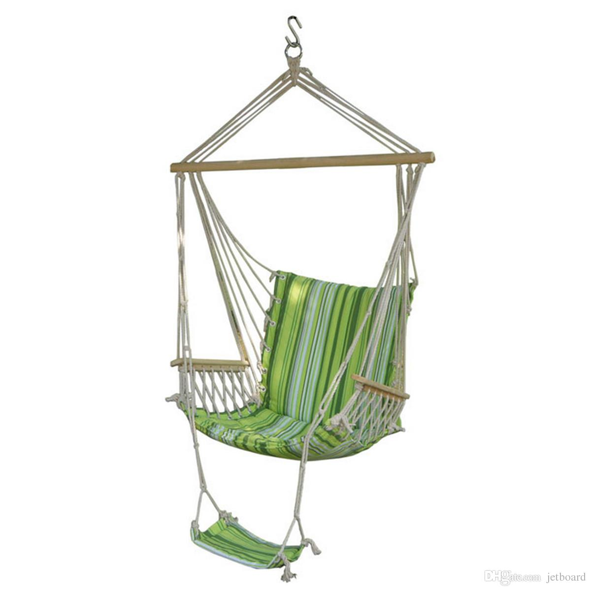 Outdoor Canvas Swing Hammock Leisure Hanging Chair Garden Patio Yard Max 330lbs Hanging Rope Hammock Swing Chair With Footrest Camping Furniture Patio