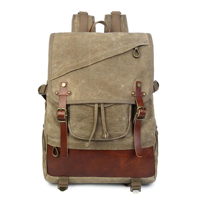 """Men Leather Canvas Backpack 14/"""" Laptop Rucksack Bag Work Travel School Daypack"""