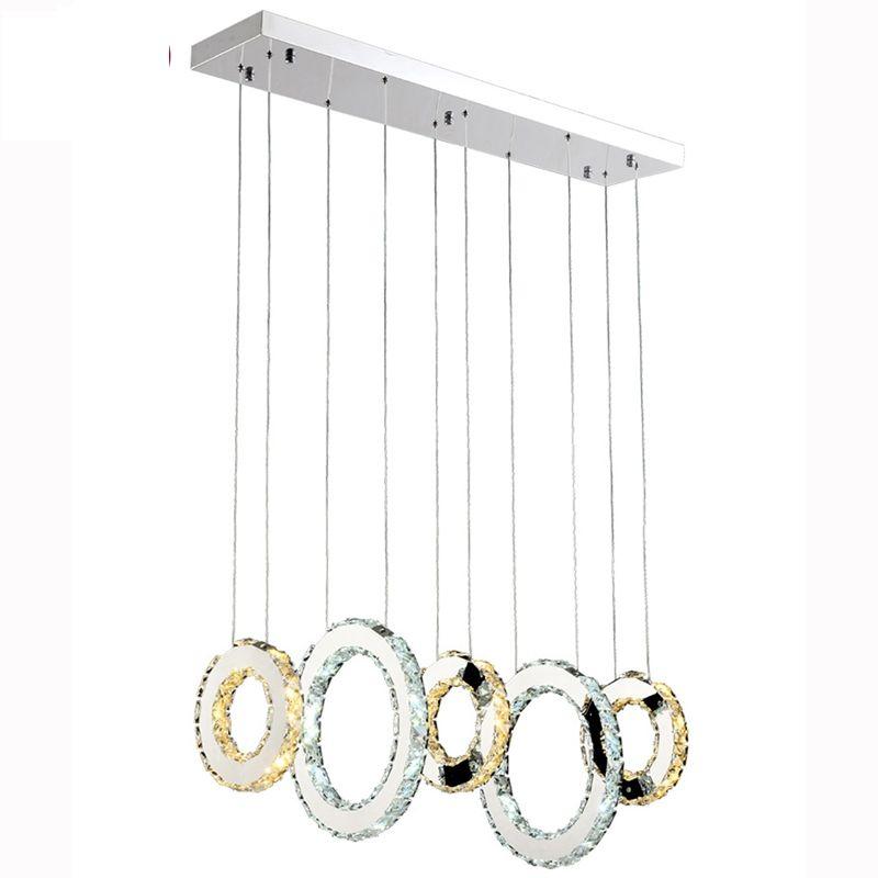 Lüks Çağdaş LED Kristal Kolye Işıkları K9 Kristal Avizeler Aydınlatma Oturma Odası Restoran Için 3/5 Kristal Circulars Ile