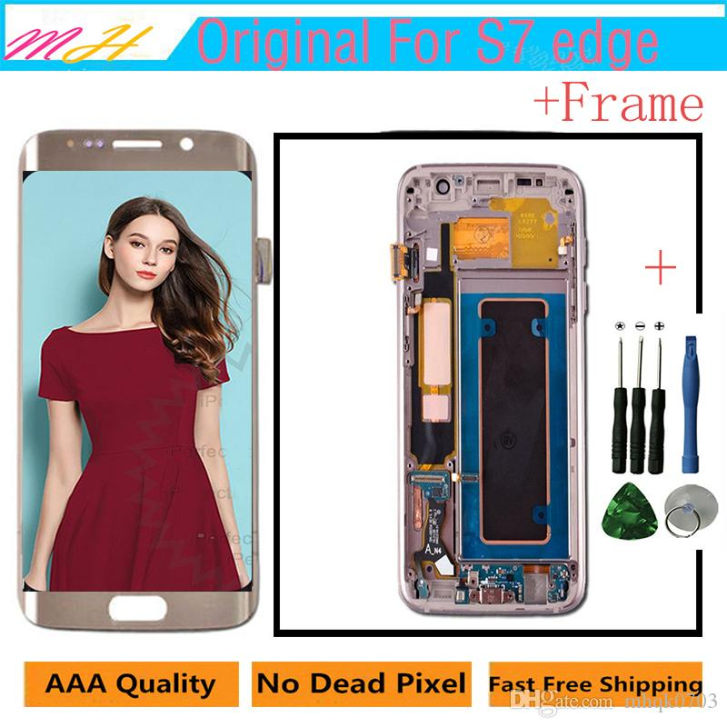 Original LCD For Samsung S7 Edge LCD Touch Screen + Frame Digitizer Display Assembly Replacement Parts For G935A G935F G935P + Repair Tool