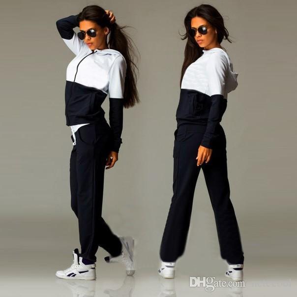 Lady Liva Kız Yeni Rahat Eşofman Kadın 2 Parça Set Üst Ve Pantolon Seksi Çizgili Bayanlar Eğlence Sıcak satış İki Adet Kazak S-XL Suits