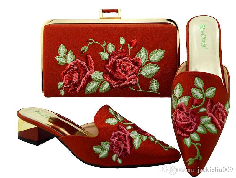 Venta caliente del color rojo del tacón bajo 3.8 CM zapatos de las señoras woth flores bordado zapatos africanos partido bolso conjunto para el vestido MM6003