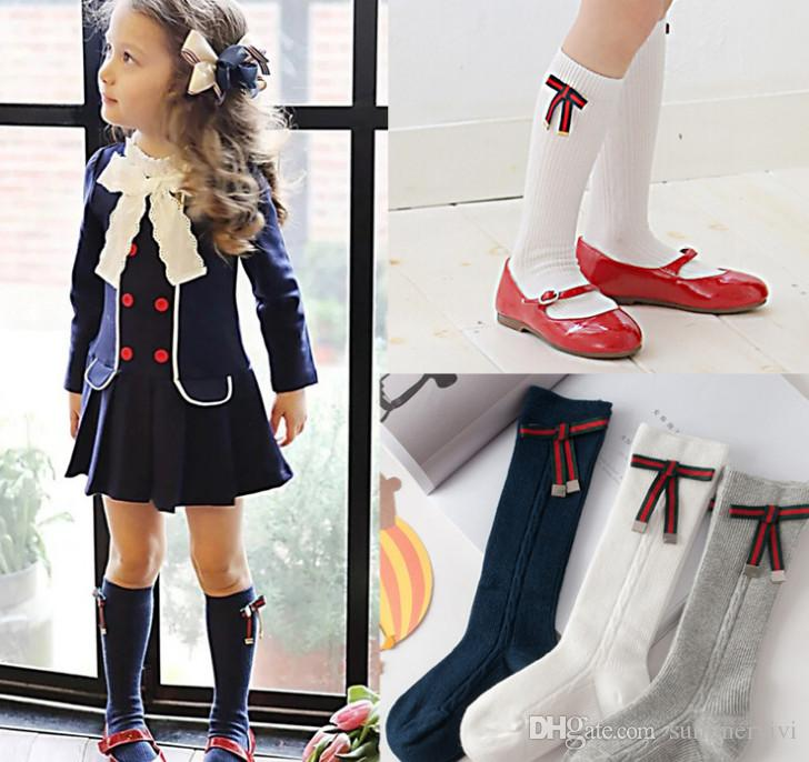 Girls socks fashion children stripes Bows applique princess socks kids twist knitting knee high socks children cotton stocking legs Y4294